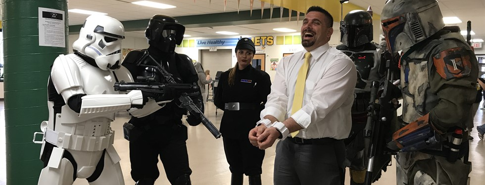 Mr. P in trouble with the Storm Troopers