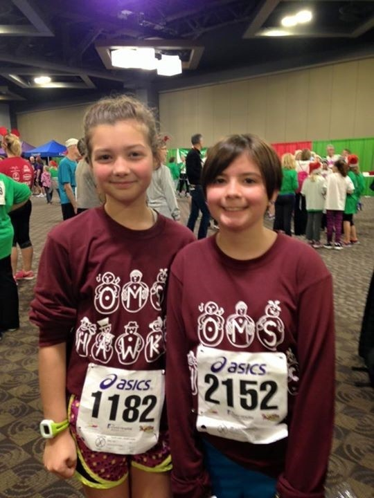 many of the OMS students and their families recently participated in the annual Jingle Bell Run!