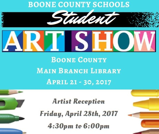 Boone COunty Art Show at the Library April 21st-30th.