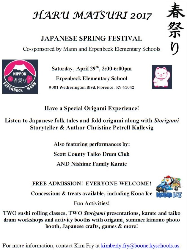 Annual Japanese Festival on April 29th from 3-6pm