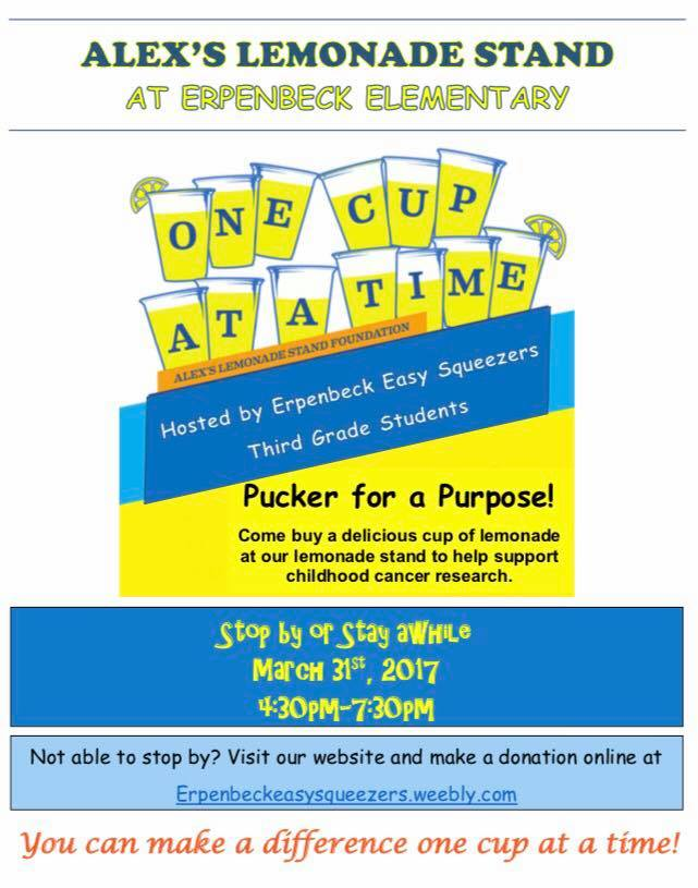 Alex's Lemonade Stand to fight childhood cancer at Erpenebck Elementary on March 31st, 4:30-7:30pm