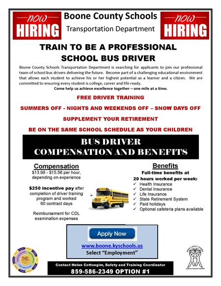 BCS Now Hiring School Bus Drivers
